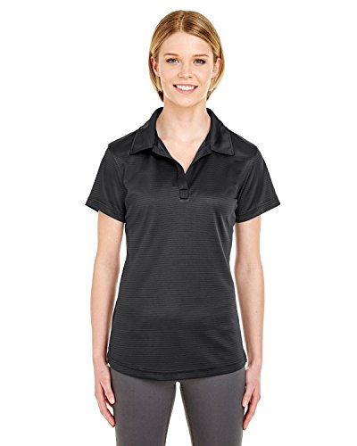 Ultraclub 8220L Ladies Cool & Dry Jacquard Stripe Polo - Black - M