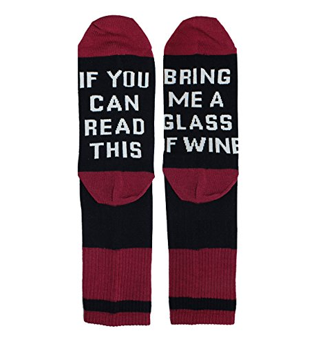 If You Can Read This Bring Me Wine Funny Saying Cotton Crew Socks, Christmas Gag Gift for Women Sister Girls