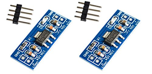 2X AMS1117-3.3V Fixed Voltage Regulator - Electronic Project Board Converts Input 4.5-7V to Output 3.3V - Unsoldered Pins for Project Flexibility, 2 Pieces
