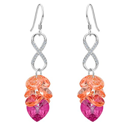 EleQueen 925 Sterling Silver CZ Infinity Cluster Bead Hook Heart Long Drop Earrings Orange Fuchsia Adorned with Swarovski (Long Cluster Earrings)