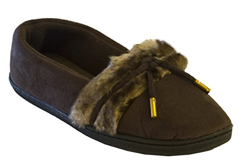Isotoner Women's Microsuede Hilary Fur Trimmed Moccasin, Dark Chocolate, ()