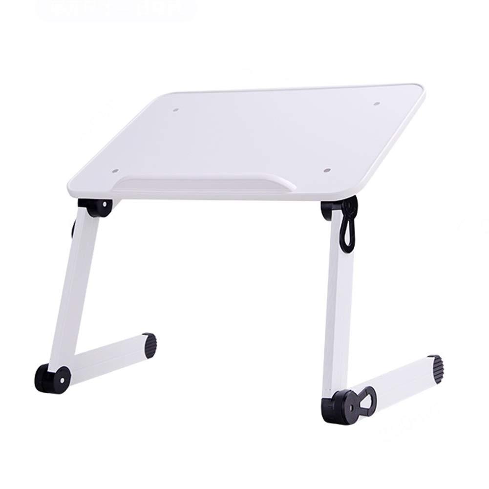 Folding Table Portable Desk Laptop Table Metal, Serve Breakfast or Laptop Computer Notebook Desk (Color : White)