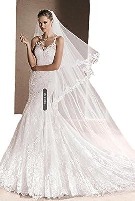 Passat 1T/2T 2M/3M/5M/10M Soft French Lace Applique Cathedral Wedding Veil Bridal Veil With Comb 274