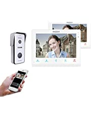 "TMEZON 10"" IP WiFi Video Door Phone Doorbell Video Intercom System Montion Detection Entry System with 1x720P AHD CCTV Camera Wireless Night Vision,Remote Unlocking,Talking,Snapshot"