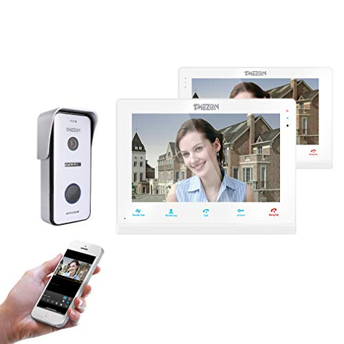 TMEZON 10″ Wireless/Wifi IP Video Doorphone Intercom Doorbell System 2 Montior with 1200TVL Wired Doorbell Camera Night Vision, Remote unlock,Talk and view, Record,Snapshot via Smartphone