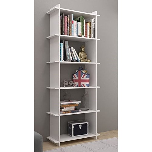 Manhattan Comfort Gisborne 2.0 Series 5 Shelf Bookcase in White