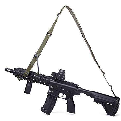 Twinfalcons Military 2 Point Rifle Sling,Tactical Rope Length Adjuster,Traditional Sling with Metal Hook,Gun Shoulder Strap for Hunting Shotgun for Outdoors (ArmyGreen)