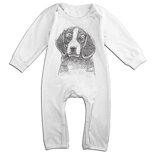 Raymond Beagle Drawing Long Sleeve Jumpsuit Outfits White