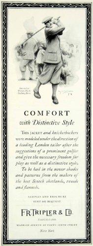 Golfing Costumes (1925 Ad Vintage F. R. Tripler Golf Golfing Golfer Swing Plus Fours Men Fashion - Original Print Ad)