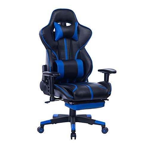 Blue Whale Gaming Chair PC Computer Game Chair with Footrest Racing Gamer Chair Ergonomic Office Chair High-Back PU Leather Computer Desk Chair with Lumbar Cushion and Headrest Blue