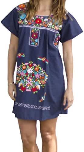 Liliana Cruz Embroidered Mexican Peasant Mini Dress