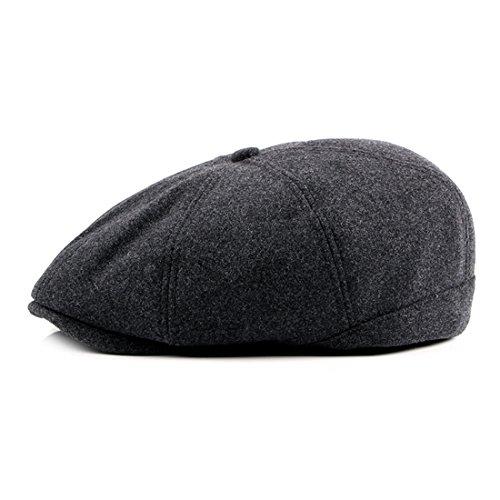 (WAZZIT 8 Panel Wool Blend Newsboy Hats Solid Ivy Irish Cabbie Caps Driver Beret Hats - Dark Grey)