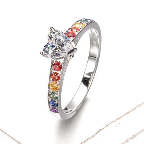 EQUALLI Heart Las Vegas Ring in .925 Sterling Silver | Artisan Wedding & Engagement Ring with .55 Carats of Natural Rainbow Sapphires + Center Stone (Size: 8)