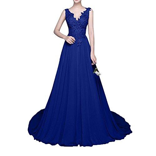 Partykleider Braut Chiffon Abendkleider Langes Spitze A Kleider Jugendweihe La Rock Royal Linie Brautmutterkleider mia Blau qzIXWw