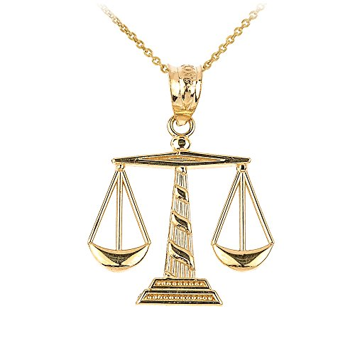 14k Yellow Gold Scales of Justice Pendant Necklace, 18