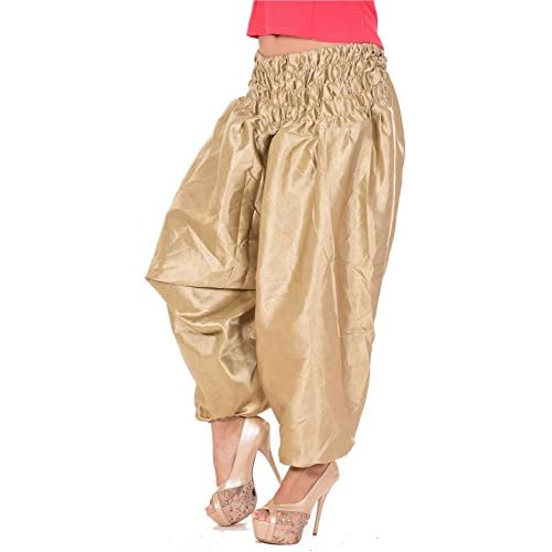 caa92786361ee Indian Satin Silk women's Ladies Plus Size Alibaba Harem Trousers Baggy  Glam Gold best