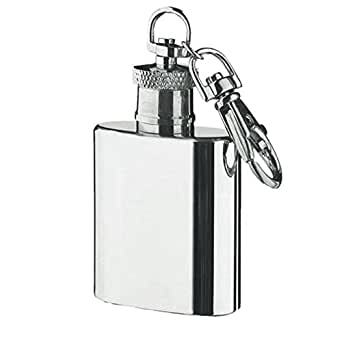 Besde Car Key Pendant Mini Stainless Steel Hip Flask Flagon with Keychain (Silver)