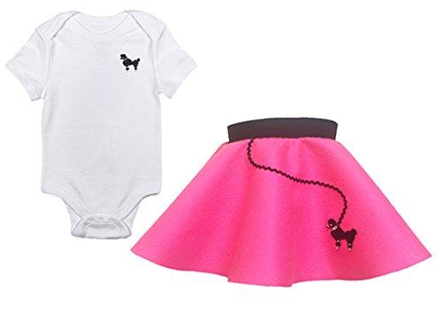 (Hip Hop 50s Shop Infant Poodle Skirt 2 Piece Costume Set, Hot Pink, 6)