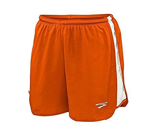 Brooks Athletic Curved Side Panel Shorts - Burnt Orange/White - Small