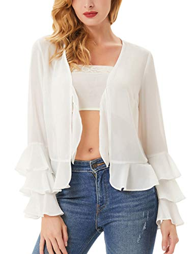- Womens Long Bell Sleeve Ruffles V Neck Tie Front Loose Mesh Chiffon Cardigan Tops Size S,Ivory
