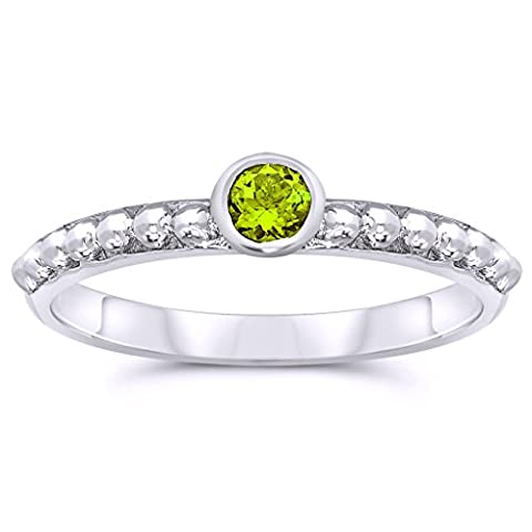 .925 Sterling Silver 3mm Round Shape Bezel Set Natural Peridot Gemstone Solitaire Ring, Birthstone of August - Peridot Gemstone Round Shape