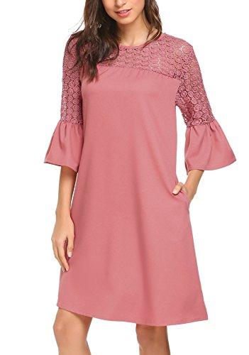 (Women's Bell Sleeve Red Shift Tunic Cocktail Party Dresses with Tulip Sleeve Red Bean Grey S)