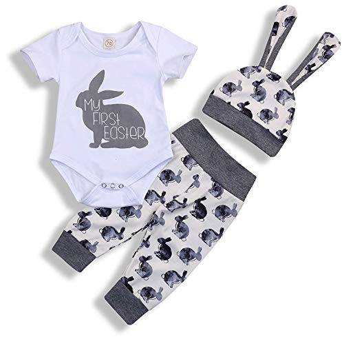 My 1st Easter Newborn Baby Boy Girl Outfits Rabbit Romper Top+Cartoon 3D Bunny Ears Hat+Cute Pant 3Pcs Twins Clothes Set(3-6 Months)