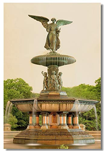Manhattan Wall Fountain - Poster Bethesda Fountain in Central Park Manhattan New York Fabric Prints for Room Wall 35.5x23.5inch (90x60cm) (014)
