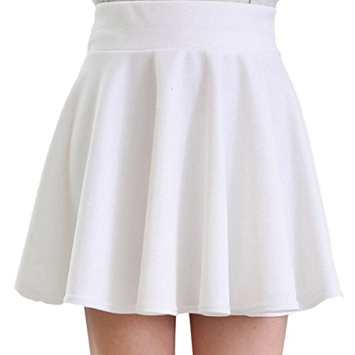 Womens-Basic-Solid-Versatile-Stretchy-Flared-Casual-Mini-Skater-Skirt