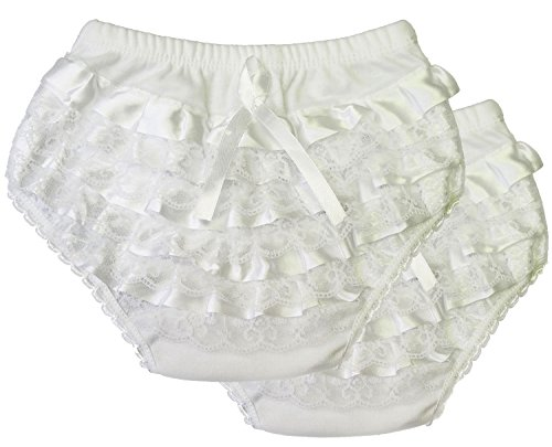Kay's BTQ 100% Cotton White Satin Lace Decorated Ruffle Diaper Covers 2-Pack Size 1-6 (2 (1y-2y))
