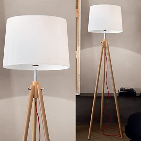 Mia Light pantalla pie ↥ 1640 mm/clásico/plástico/blanco/madera ...
