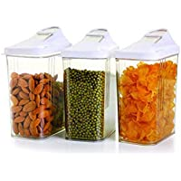 Souxe (1100 ml) Easy Flow Kitchen Plastic Dispenser/Container/Jar Set for Cereals, Rice, Pulses