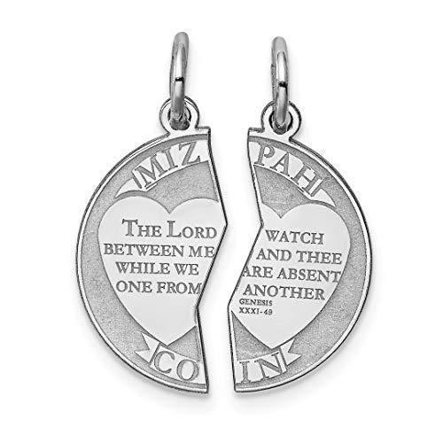 925 Sterling Silver Breakapart Mizpah Pendant Charm Necklace Love Religious Judaica Break Apart Fine Jewelry For Women Gift Set - Silver 9mm Cute Leaf Charms