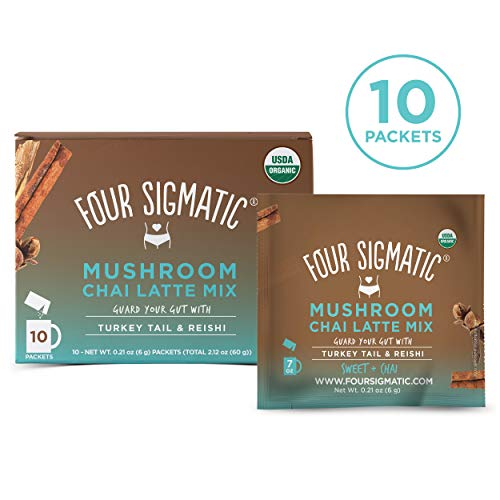 (Four Sigmatic Chai Latte with Turkey Tail & Reishi Mushrooms - Dairy-free, USDA Organic Latte with Coconut Milk Powder - Gut, Digestion - 10Count)