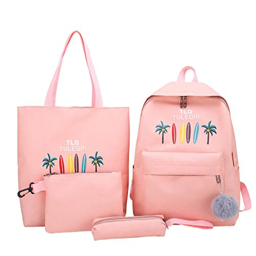 - 4Pcs School Backpack Set,SIN+MON Canvas School Bag Bookbags Cartoon Daypack Shoulder Bag Pencil Case Cosmetic Bag Rucksack