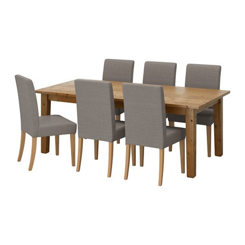 Ikea Table and 6 chairs, antique stain, Nolhaga gray-beige 6204.261411.2214