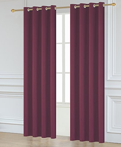 Facebook Store Window Treatments Thermal Insulated Grommet Blackout curtains (52″x63″(132cmx160cm), Red)