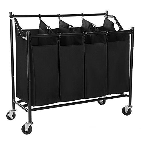 songmics heavyduty 4bag rolling laundry sorter storage cart with wheels black urls90h