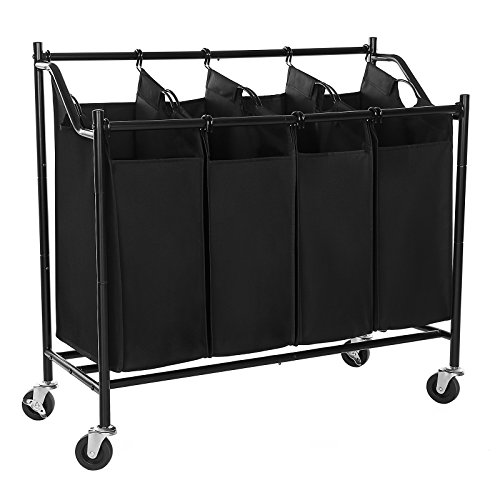 SONGMICS Heavy-Duty 4-Bag Rolling Laundry Sorter Storage Cart with Wheels Black URLS90H (Bin Laundry Cart)