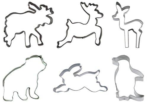 Städter Ausstechformen Tiere des Winters 6-teilig aus Edelstahl, Spülmaschinenfest (Pinguin, Eisbär, Hirsch, Reh, Rehkitz, Schneehase)