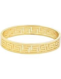 Stainless Steel Womens Greek Pattern Oval Cutout Hinged Bangle Bracelet (8mm-12mm x 60mm