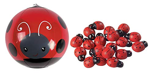 Fun Express Inflatable Mini Ladybug Beach Balls - 12 ct with Self-Adhesive Ladybugs - 50 Pieces Bundle ()