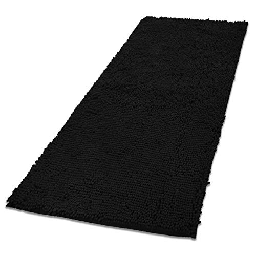 - MAYSHINE 31x59 inch Absorbent Microfiber Quick Drying Chenille Shaggy Machine-Washable Dog Runner Door mat - Black