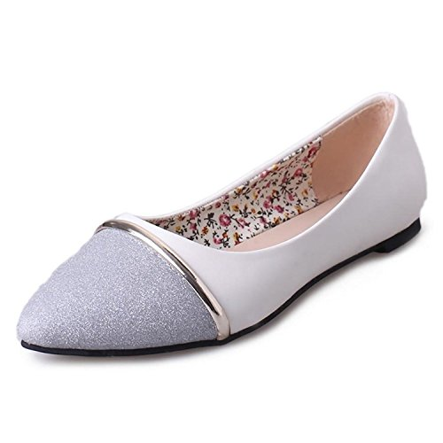 Beaumens Women's Ballet Flats Comfort Slip On Fashion Dress Shoes Silver White 38 by Beaumens