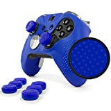 ElitePro Grip STUDDED Skin Set for Xbox One ELITE Controller by Foamy Lizard ® Sweat Free Silicone Skin w/ Raised Anti-slip Studs PLUS set of 8 QSX-Elite Thumb Grips (SKIN + QSX-E GRIPS, BLUE)