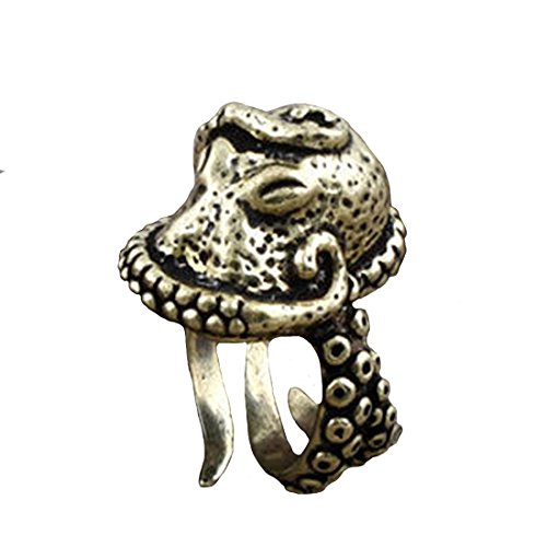 Amkaka Vintage Bronze Octopus Sea Monster Squid Kraken Ring Size Adjustable (Under The Sea Fancy Dress Costumes)