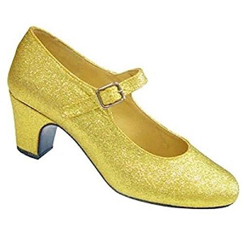 Zapatos de tacón grises con purpurina plateada para niñas y adultas, zapatos de baile para flamenco y tango Doré Pailleté
