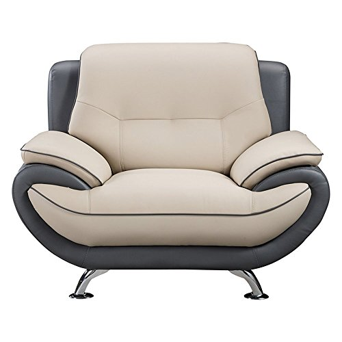 American Eagle Furniture Bonded Leather Living Room Sofa Chair With Pillow Top Armrests Light