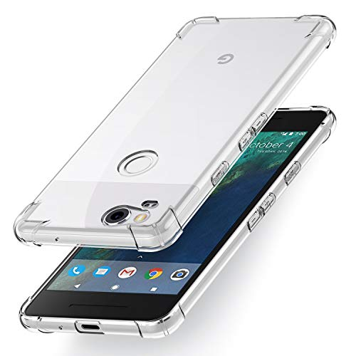 Compatible for Google Pixel 2 Case, GVIEWIN Crystal Clear Design with Shockproof Corner Cushion Technology, Ultra Slim TPU Bumper Protective Cover Case for Google Pixel 2 (2017) (Clear)