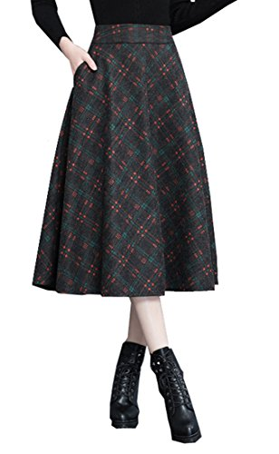 Patchwork Skirt Pattern (Tribear Women's Vintage High Waist Wool A-Line Pleated Midi Skirts (6, 8858Orange))
